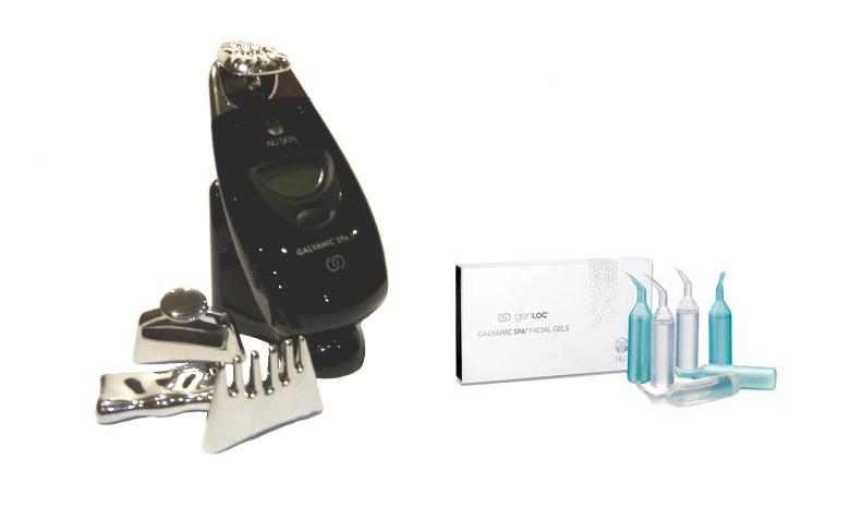 Galvanická žehlička na vrásky ageLOC EDITION Galvanic SPA II černá + gely na pleť 8 x 4 ml