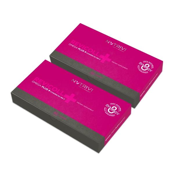 Nutrivi Revicoll Omega Plus + Vitamin K2MK7 120 ks (Mastné kyseliny omega 3, aminokyseliny, peptidy a rybí kolagen pro oběhovou soustavu a kostru)