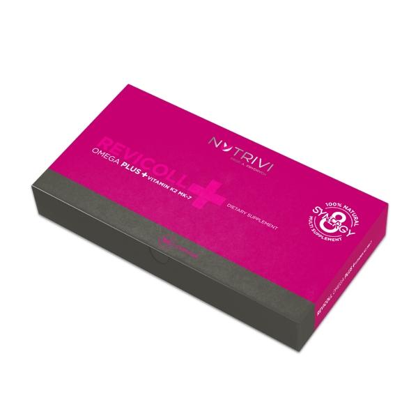 Nutrivi Revicoll Omega Plus + Vitamin K2MK7 60 ks pro oběhovou soustavu a kostru (Mastné kyseliny omega 3, aminokyseliny, peptidy a rybí kolagen)